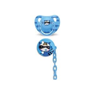 Suavinex 3801431 Total Look Ortodontik Silikon Emzik + Zincir Seti 6-18 Ay Blue Secret