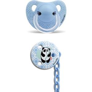 Suavinex 3801431 Ortodontik Silikon Emzik + Emzik Zinciri Set 6-18 Ay Panda Mavi